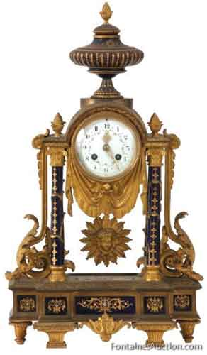 French Porcelain & Bronze Mantle Clock