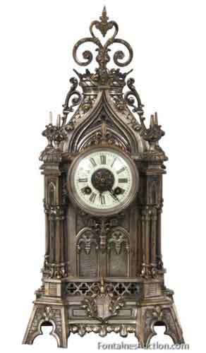 French Silvered Gothic Brass Mantle Clock