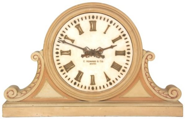 """24 inch E. Howard Gallery Clock with Marble Dial - Bloomfield. Large 24-inch white marble dial signed """"E. Howard & Co. Boston"""" Sold At Fontaines Auction in Pittsfield MA."""